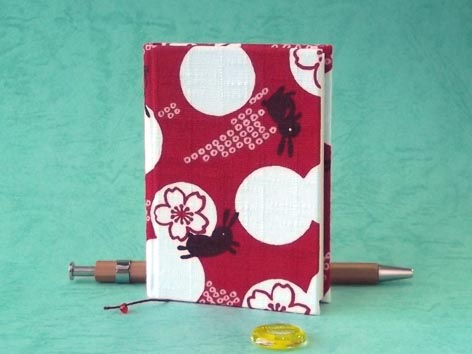 画像1: お散歩てのひらノート6.5×9.0(桜紋うさぎ)
